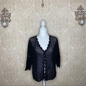 Norm Thompson Crochet Single Button Cardigan